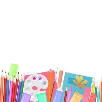 Retour au concept de l'école. fournitures scolaires pour l'enseignement et la créativité des enfants.