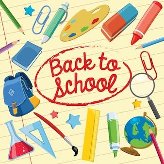 Retour au concept de l'école avec des fournitures scolaires
