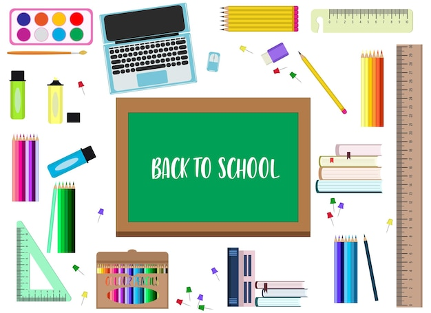 Retour au concept de l'école. illustration vectorielle. un ensemble d'éléments différents pour l'école