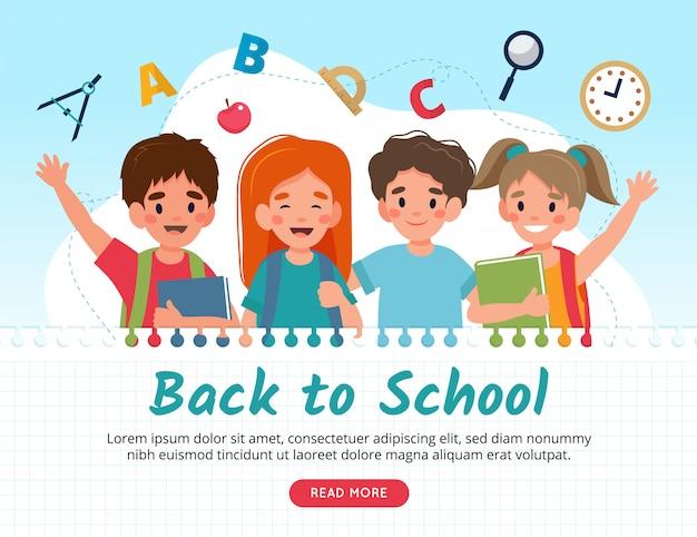 Retour au concept de l'école, personnages mignons.