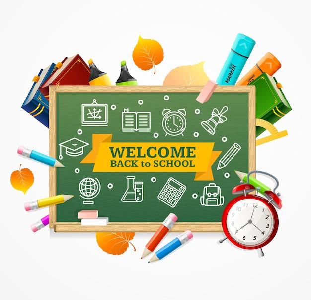 Retour au concept de l'école. tableau vert et fournitures.