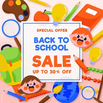 Retour au concept de vente à l'école dessiné à la main