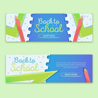 Retour au design plat de bannières scolaires
