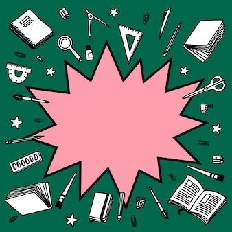 Retour au fond de l'école. bande dessinée de bande dessinée vide bulle de dialogue avec ligne fragmentaire