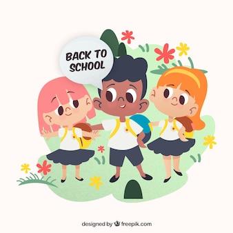 Retour au fond de l'école avec les enfants