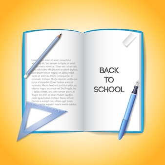 Retour au fond de l'école avec des fournitures scolaires