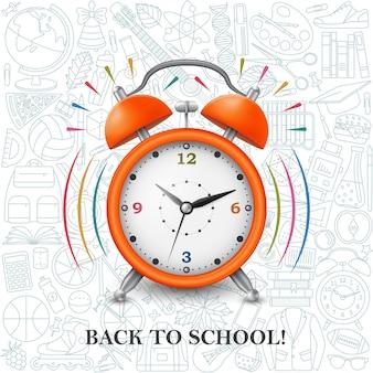 Retour au fond de l'école avec réveil et modèle scolaire. illustration.