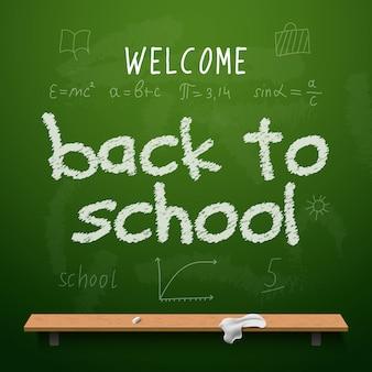 Retour au lettrage de conception de tableau de l'école. tableau noir avec texte de retour à l'école, fait à la craie