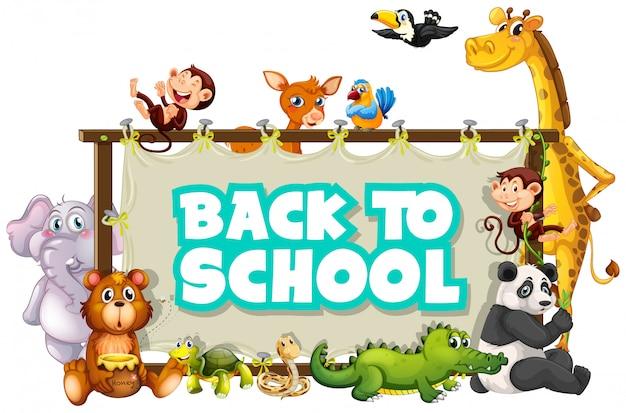 Retour au modèle d'école avec des animaux