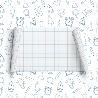Retour au modèle de fond de l'école bannière vierge et incurvée, sur fond avec des outils scolaires dessinés à la main.
