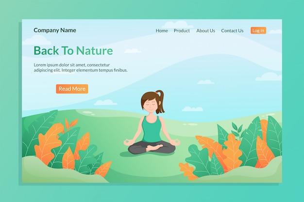 Retour au modèle de page de destination nature avec méditation jeune femme