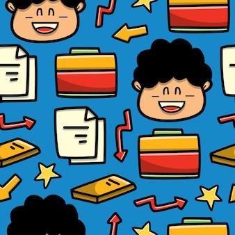 Retour au modèle sans couture de doodle dessin animé école