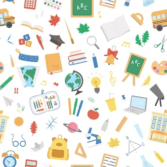 Retour au modèle sans couture de vecteur d'école. papier numérique éducatif