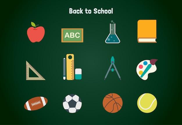 Retour au pack d'illustrations d'objets d'école