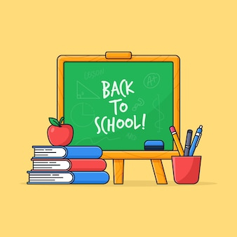 Retour au tableau de l'école avec pile de livres et illustration de dessin animé d'outils étudiants
