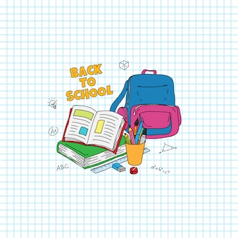 Retour au texte de l'école. étudier l'illustration de style doodle stuff. livre ouvert, sac, stylo, illustration au crayon avec fond de papier quadrillé