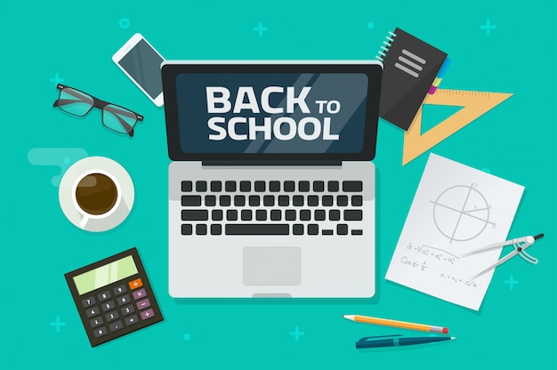 Retour au texte de l'école sur l'ordinateur portable et le bureau ou la vue de dessus de table