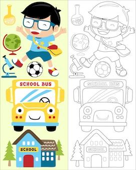 Retour au vecteur de dessin animé de l'école