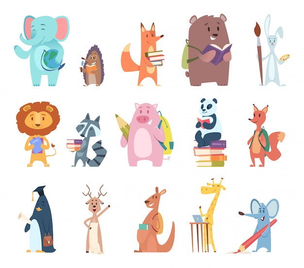 Retour aux animaux de l'école. jeunes personnages de zoo drôles articles scolaires éléphant lapin ours renard écureuil sac à dos livres personnages