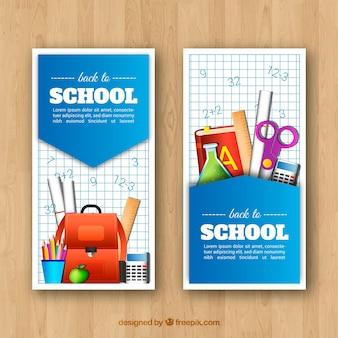 Retour aux bannières d'école avec des éléments