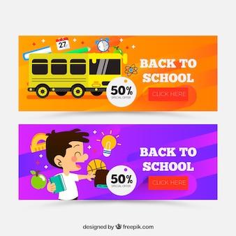 Retour aux bannières de l'école avec un design plat