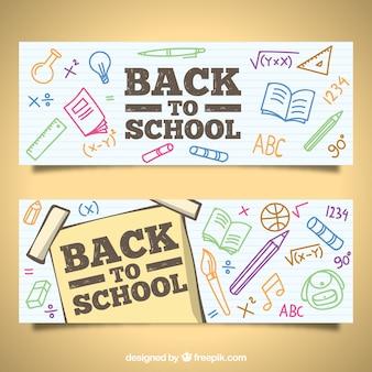 Retour aux bannières d'école avec style dessiné à la main