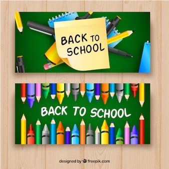 Retour aux bannières d'école avec un style réaliste