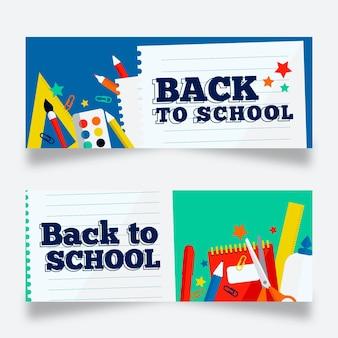 Retour aux bannières scolaires au design plat