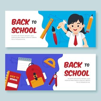 Retour aux bannières scolaires avec étudiant