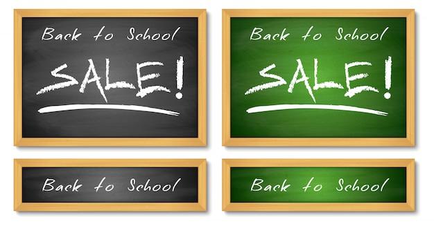 Retour aux bannières de vente scolaire. arrière-plans de tableau vert et noir en bois.