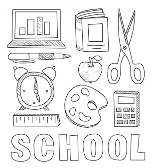 Retour aux fournitures scolaires doodles de cahier sommaire avec lettrage, étoiles filantes et tourbillons - dessinés à la main
