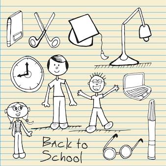 Retour aux icônes de l'école sur du papier de cahier