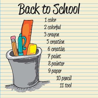 Retour aux icônes de l'école sur fond de papier