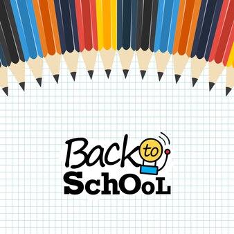 Retour à la bannière carrée d'école avec des crayons de couleur