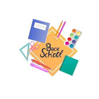 Retour à la bannière de l'école. cahiers, peintures et crayons