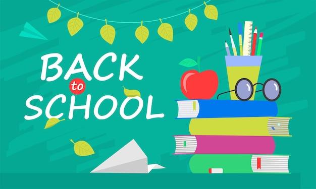 Retour à la bannière de l'école, design plat, illustration vectorielle de fond modèle avec citation de lettrage. eps10.