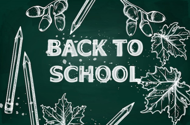 Retour à la bannière de l'école. dessin de contour de craie