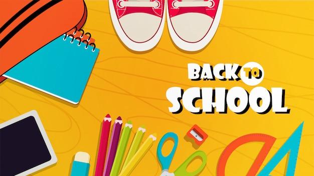 Retour à la bannière de l'école avec des éléments colorés