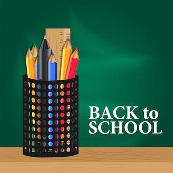 Retour à la bannière de l'école avec étui à crayons