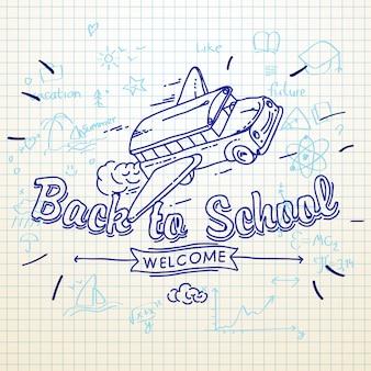 Retour à la bannière de l'école, fond de doodle, autobus scolaire, illustration.
