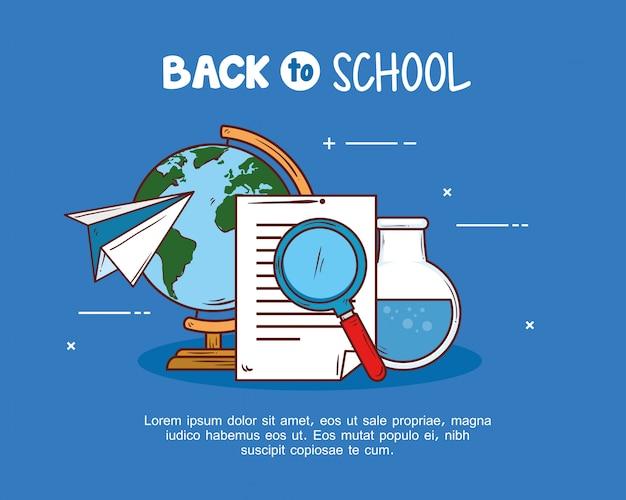Retour à la bannière de l'école avec loupe et fournitures d'éducation