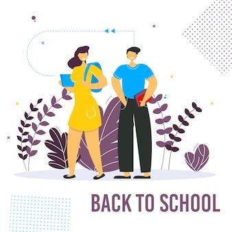 Retour à la bannière de l'école avec des personnages colorés de l'école drôle.