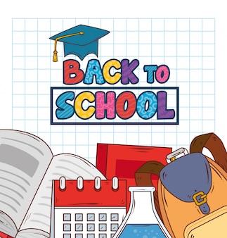 Retour à la bannière de l'école avec sac à dos et fournitures scolaires