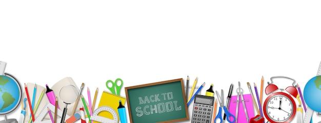 Retour à la bannière transparente de l'école avec des fournitures scolaires réalistes