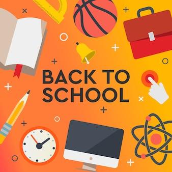 Retour à la bannière de vente de l'école, affiche, design plat coloré, illustration.