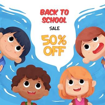 Retour à la bannière de vente d'école avec des personnages d'enfants aquarelles