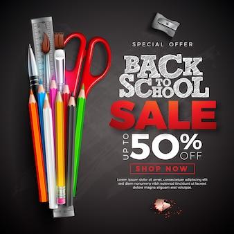 Retour à la bannière de vente scolaire avec un crayon coloré et un texte écrit à la craie sur un tableau