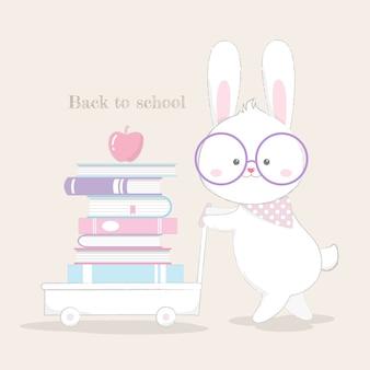 Retour à la carte de l'école mignon vecteur de style dessinés à la main lapin.