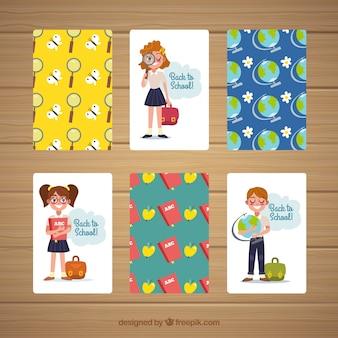 Retour à la collection de cartes scolaires avec un design plat