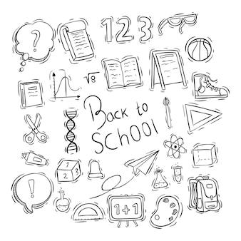 Retour à la collection d'éléments ou d'icônes d'école avec style doodle